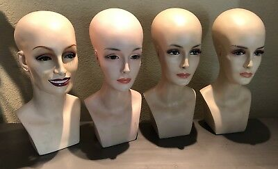 Life-size Vintage Beautiful MANNEQUIN HEADS Hand Painted w/ Lashes Display #2