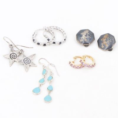 VTG Sterling Silver - Lot of 5 Assorted Earring Pairs NOT SCRAP - 16g