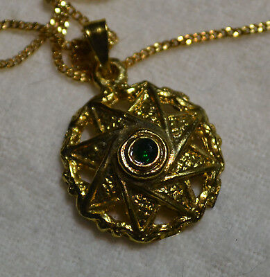 Vintage Art Deco 14k gold antique natural Emerald gemstone Israel estate pendant