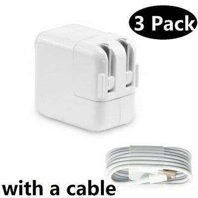 3x New 12W USB Power Adapter Wall Charger for Apple iPad 4 Air Pro +Cable Lot