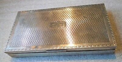 fine old large European sterling silver cigarette box