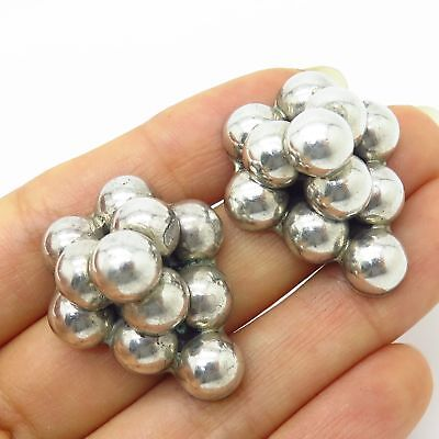 Vintage Mexico 925 Sterling Silver Grape Cluster Design Large Hollow Earrings