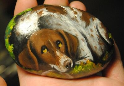 Hand Painted~Rock~~German Shorthaired Pointer~~Dog~Original Painting~~Whimsical