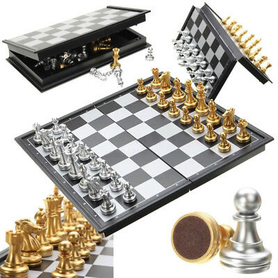 Foldable Magnetic Silver Gold Chess Box Toy Educational Board Games Family New