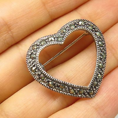 Fine Pins & Brooches Vintage Marsala 925 Sterling Silver Real Marcasite Gem Heart Design Pin Brooch Jewelry & Watches