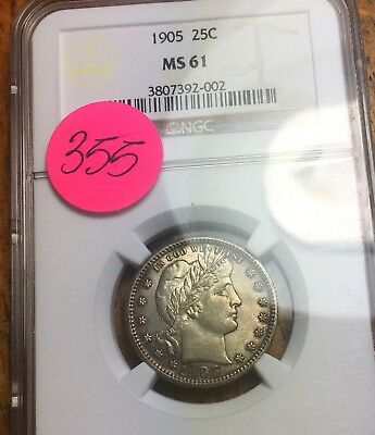 1905 Barber Silver Quarter Liberty NGC MS61 Approved By eBay And No Circulation!