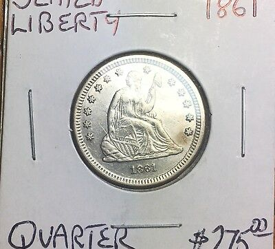 1861 Seated Liberty Silver Quarter Dollar. From Dealer . Very Great Condition