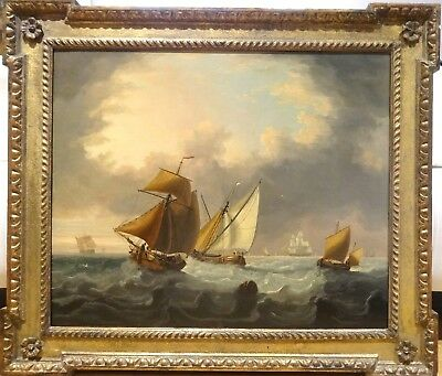 Fine Large 18th Century British Ships Sailing Navy Marine Oil Painting Antique