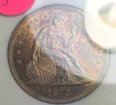 1872 Seated Liberty Silver Dollar. Graded MS and Is Colorful And Nice Detail