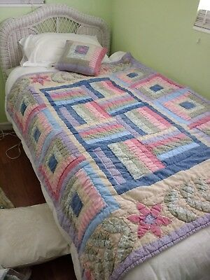 Vintage Girl/ youth  Handmade, hand sewn  Patchwork Quilt & pillow 54x36