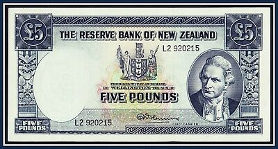 New Zealand 5 pound Banknote Fleming 1956-1967 L/2-920215  P-160d