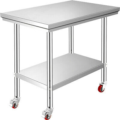 90x60 CM Stainless Steel Table Work Bench Catering w/ Wheels Casters Prep Table