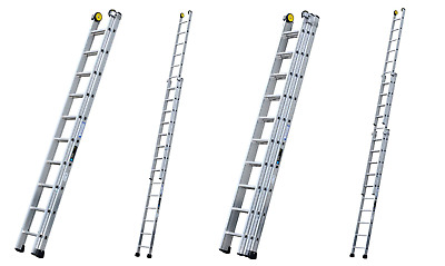 Industrial Class 1 Triple Double Section Aluminium Extension Ladders Youngman