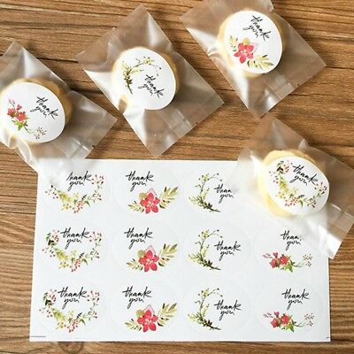 12/60/120pcs Flower Thank you Adhesive Seal Sticker Cookie Gift Bag Label Decor