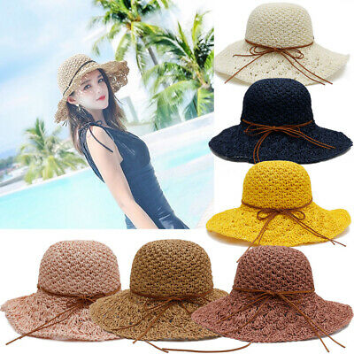 83f700411666a Women Lady Foldable Sun Straw Hat Wide Large Brim Floppy Derby Summer Beach  Cap