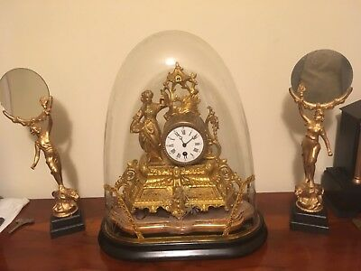 Stunning working French mantle clock, glass dome and 2 display stands