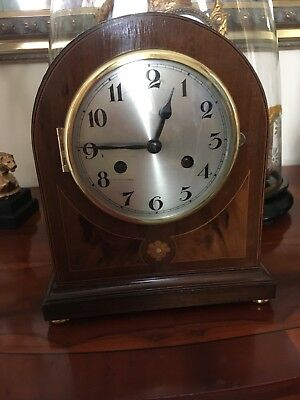 German striking bracket/mantle clock - mahogany case with rosewood inlay