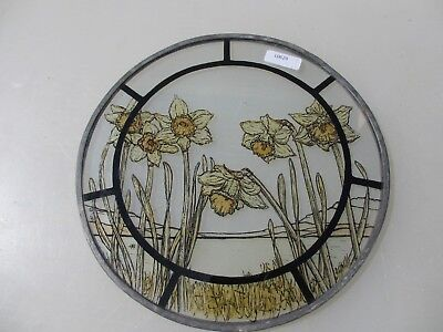 """Retro Stained Glass Window Panel Old Leaded Art Floral Flowers D.W.R 1980 8""""W"""