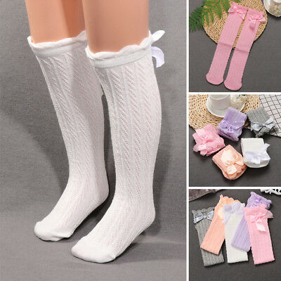 1Pair Bowknot Knee Long Soft Cotton Stockings Kids Girls Casual Socks Tights
