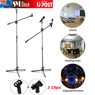 Telescopic Boom Microphone Stand Adjustable Mic Holder Tripod Two Clip 1to2 CS