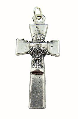 Silver Cross with IHS Chalice Center Medal Jewelry Charm Pendant, 1 3/4 Inch