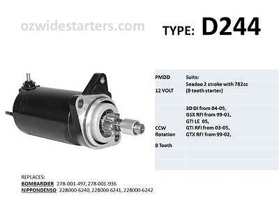 Seadoo starter motor suits 3D DI, GSX, GTI, GTX with 782cc engine