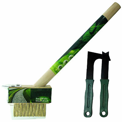 3pc Garden Patio Weed Knife & Wire Brush Weeding Tool Set Moss Paving Scraper