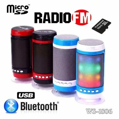 CASSA PORTATILE CON RADIO FM SD USB BLUETOOTH MP3 SMARTPHONE SPEAKER LED WS1806b