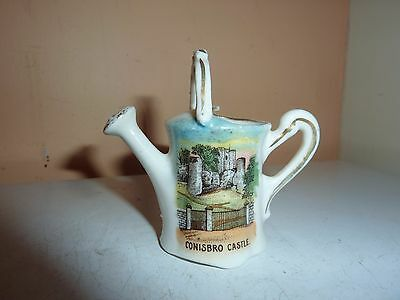 Gemma China 6.5 Cm High Model Of Watering Can With Conisbro Castle Picture Image