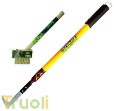 Telescopic Patio Weed Knife & Wire Brush Weeding Weeder Moss Remover Tool Set