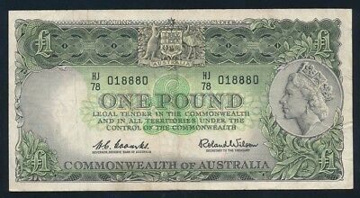 """Australia: 1961 LAST ISSUE QEII £1 """"Reserve Bank"""". RARE LUCKY NO. """"888"""" SERIAL"""