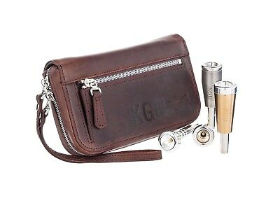 Trumpet Mouthpiece Pouch QUAD KGUBrass Crazy Horse Leather Brown. Handmade