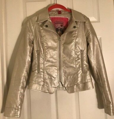 "Bernardo Mother of Pearl Metallic Faux Leather Jacket, ""Collection""  Size XS"