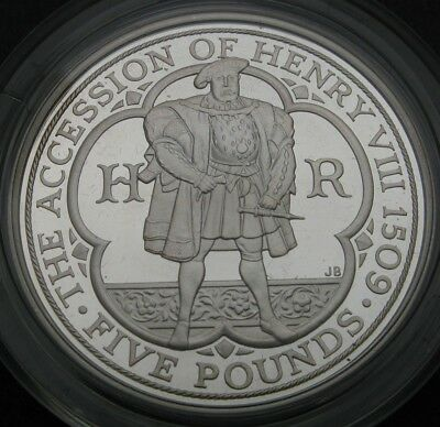 GREAT BRITAIN 5 Pounds 2009 Proof -Silver- Henry VIII. - Encased & Certificated*