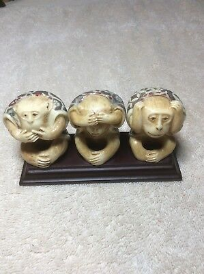 Vintage Carved 3 Wise Monkey Figurines Hear, Speak, And See No Evil