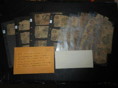Confederate Paper Money Collection with Letter 27 Norfolk, VA & 6 Richmond, VA