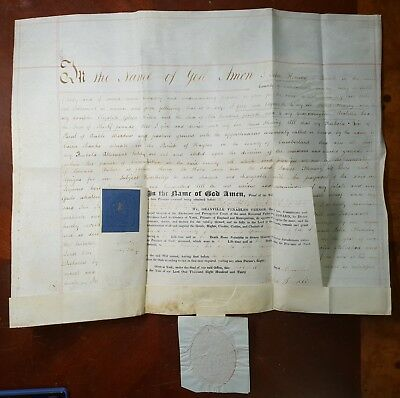 1830 Vellum Indenture Probate for John Fleming of Penrith, Large Wax Seal