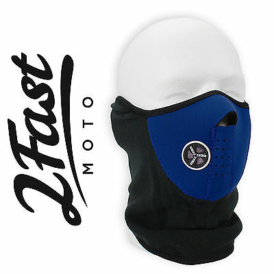 Blue Face Fleece Neoprene Mask With Mesh Ventilation ATV UTV QUAD 4 Wheeler
