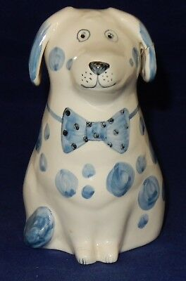 Rye Pottery Hand Painted Blue Spotty Dog. Painters Initals to base