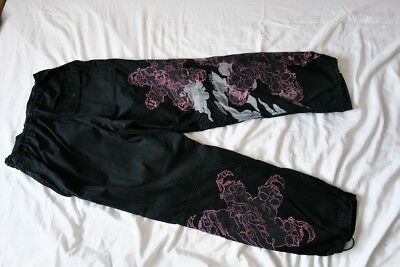 Maharishi Combat Cargo Trousers Pants Black Pink Skull Embroidered Cotton Goth