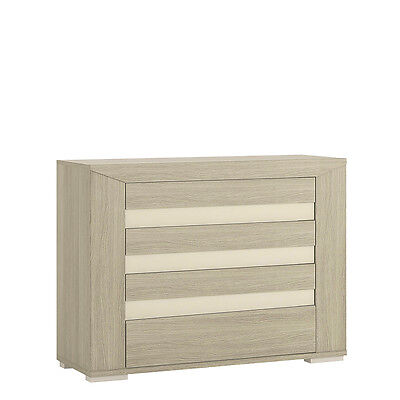 Champagne Light Oak Effect Small 4 Drawer Chest of Drawers / Modern Drawers