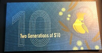 AUSTRALIAN $10 NOTES 2015 First& 2017 FIRST PREFIX AA15 AA17 UNC TWO GENERATIONS