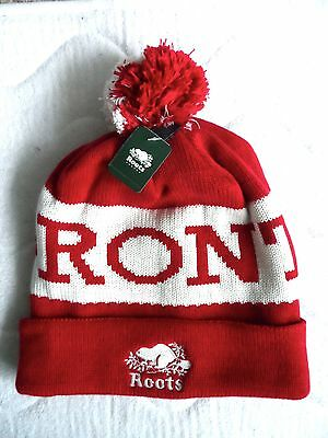 ROOTS TORONTO Canada Cranberry Bobble TOQUE Beanie Hat Pompom Cuff Up or Slouchy