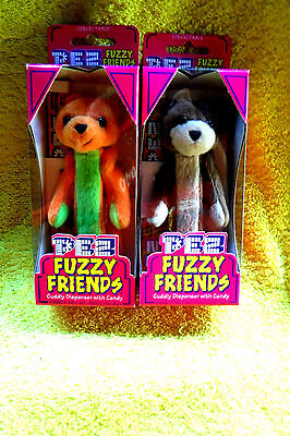 New In Pack 2 Cuddly Bear Series Tj & Buddy Fuzzy Pez Dispensers-Retired(2000)!