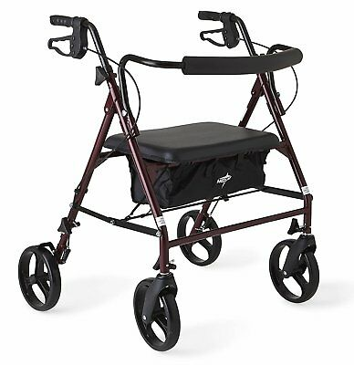 "Medline Heavy Duty Bariatric Mobility Rollator with 8"" Deluxe Wheels 500 lbs Cap"