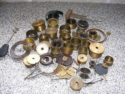 Large Quantity Antique Clock Parts Spares Springs Brass Wheels Cogs Chimes