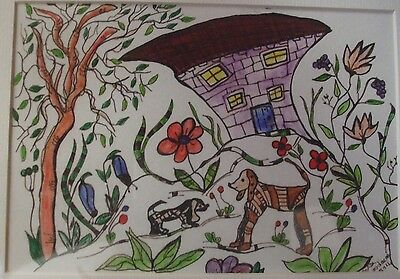 w/colour acrylic inks Painting by Anita in black Frame Dogs flowers house