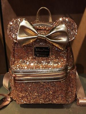 Disney Parks Loungefly Rose Gold Minnie Mouse Backpack Bag Purse Sequin In Hand