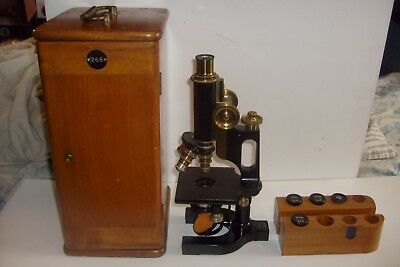 Antique Topley Company Ottawa 1912 Bausch & Lomb Jug Handle Microscope + Case
