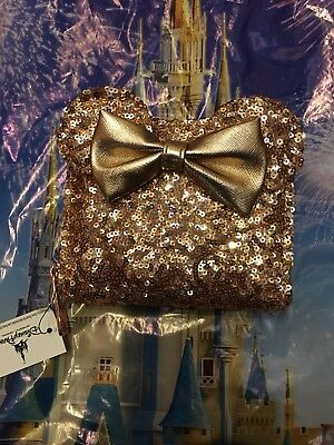 Disney Parks Loungefly Rose Gold Minnie Mouse Wallet Purse Sequin In Hand